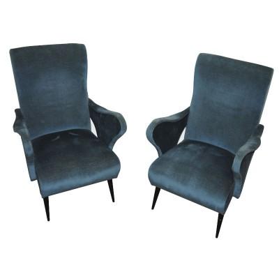 Pair Ponti style armchairs