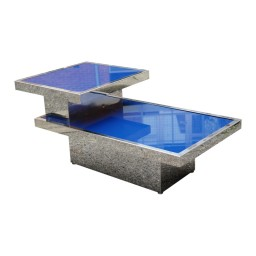 Chrome and blue glass step table