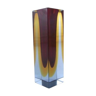 Murano faceted sommerso glass vase