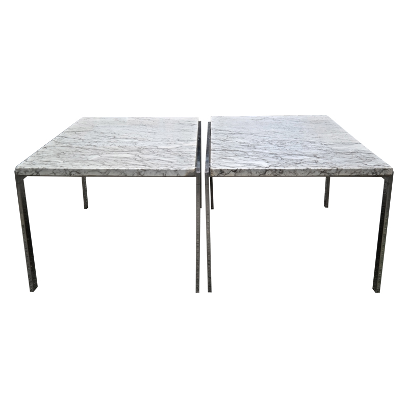 marble and chrome side tables