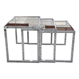 chrome and glass nest tables
