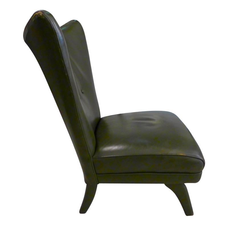 Groovy Green Leather Italian Wing Back Lounge Chair The Design Camellatalisay Diy Chair Ideas Camellatalisaycom